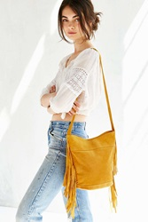 Ecote Suede Fringe Bucket Bag Yellow