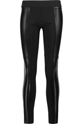Mcq By Alexander Mcqueen Leather Paneled Stretch Jersey Leggings Black