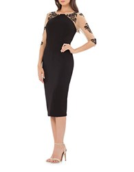 Js Collections Illusion Midi Sheath Dress Black Nude