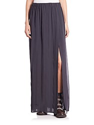 Brunello Cucinelli Pleated Stretch Silk Maxi Skirt Dark Grey