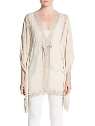 Saks Fifth Avenue Lace Trimmed Drawstring Cotton Tunic Light Beige
