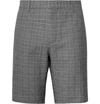 Paul Smith Prince Of Wales Checked Stretch Cotton Seersucker Shorts Black