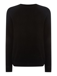 Label Lab Pigalle Open Knit Crew Neck Jumper Black