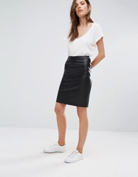 Vila Faux Leather Pencil Skirt Black