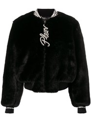 Philipp Plein Faux Fur Zip Up Jacket Black