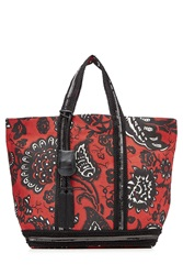 Vanessa Bruno Linen Tote With Sequin Embellishment Red