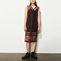 Coach Sleeveless Organza Encrusted Dress Red Multi