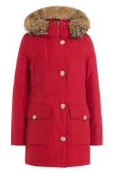 Woolrich Down Parka With Fur Trimmed Hood Red