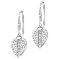 Dower And Hall Lumiere Sterling Silver Heart Sapphire Drop Earrings Silver White