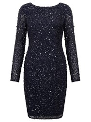 Adrianna Papell Long Sleeve Sequin Cocktail Dress Blue