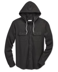 Univibe Men's Button Front Hoodie Black