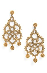 J.Crew Bead And Embroidery Earrings Rich Gold