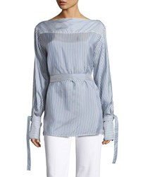 Calvin Klein Keith Bis Striped Boat Neck Blouse Blue