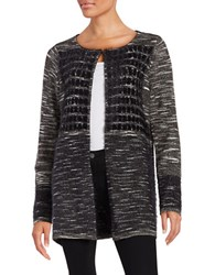 T Tahari Sima Eyelash Knit Cardigan Black Grey