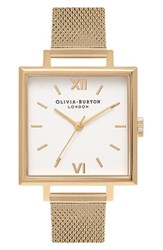 Olivia Burton Women's Big Square Mesh Strap Watch 30Mm Gold White Gold