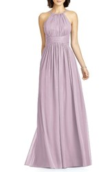 Dessy Collection Women's Lux Chiffon Halter Gown Suede Rose