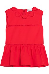 Red Valentino Redvalentino Embroidered Cotton Peplum Top It48