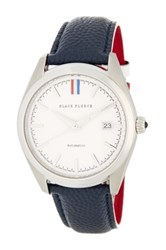 Brooks Brothers Men's Black Fleece Collection Leather Strap Watch White