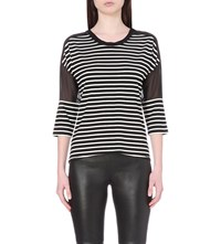 Karen Millen Striped Jersey Top Monochrome