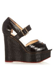 Charlotte Olympia Marcella Crocodile Effect Leather Wedges