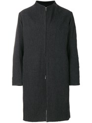 Devoa Zip Front Coat Silk Cotton Wool Grey