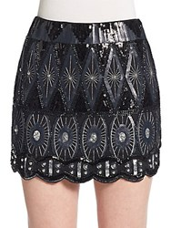 Romeo And Juliet Couture Sequined Mini Skirt Black Blue