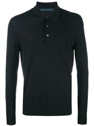 Kiton Longsleeved Polo Shirt Men Wool L Black
