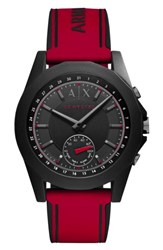 Armani Exchange Men's Ax Connected Silicone Strap Hybrid Smart Watch 44Mm Black Red