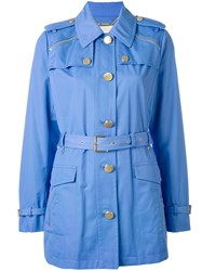Michael Michael Kors Belted Military Jacket Blue