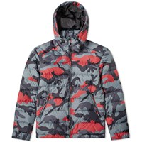 Valentino Camo Zipped Hooded Down Jacket Red