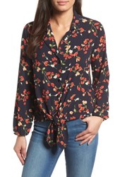 Gibson Relaxed Tie Front Top Black Print With Red Flowers