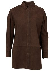 Maison Ullens Leather Shirt Brown