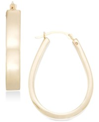 Signature Gold Polished Pear Shape Hoop Earrings In 14K Or Rose Over Resin Created For Macy's Gold