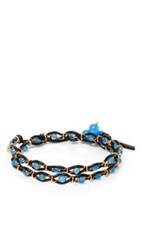Camellia Westbury Leather And Gems Necklace Blue