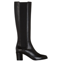 Hobbs Lilie Leather Slip On Long Boots Black