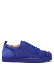 Christian Louboutin Louis Junior Spike Suede Sneakers Blue