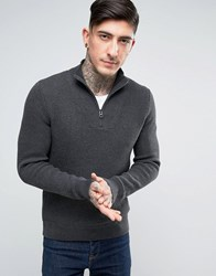 Boss Orange By Hugo Mesh Knit Jumper Half Zip Charcoal Grey