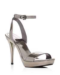 Michael Michael Kors Catarina Metallic High Heel Platform Sandals Gunmetal