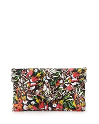 Ash Floral Frankie Ring Lined Leather Clutch Bag Black Multicolor