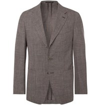 Caruso Brown Butterfly Micro Checked Wool Silk And Linen Blend Suit Jacket Brown