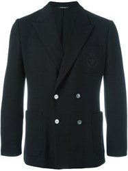 Dolce And Gabbana Embroidered Crown Bee Blazer Black