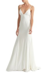 Joanna August Crepe Mermaid Gown White