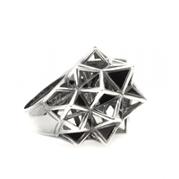 Bottega Veneta Sterling Silver Cocktail Ring Nero