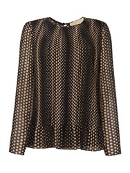 Michael Kors Long Sleeve Pleated Top Khaki