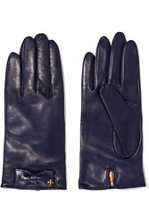 Tory Burch Bow Embellished Leather Gloves Blue
