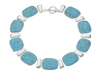 Lauren Ralph Lauren 18 Rectangular Cushion Turquoise Collar With Ring And Toggle Silver Turquoise Necklace Multi