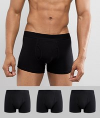 Burton Menswear Trunks In Black 3 Pack