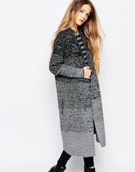 La Fee Verte Grey And Black Striped Longline Cardigan Multi