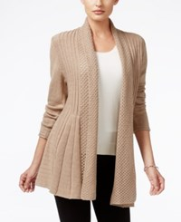 Ny Collection Ribbed Open Front Cardigan Oatmeal Heather
