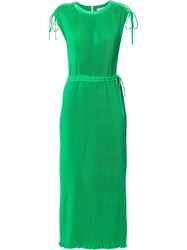 Ck Calvin Klein Fluid Pleated Dress Green